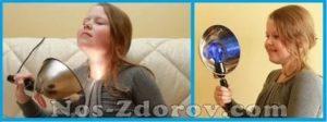 Прогревание синей лампой при кашле
